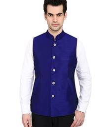 Buy indian ATTIRE Designer Ethnic Royal Blue Blended Silk Koti (Waistcoat) For Men nehru-jacket online