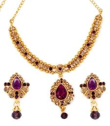 Buy Diva Style Me Purple Kundan Necklace Earrings Set necklace-set online