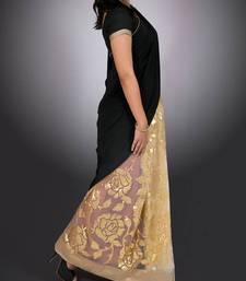 Buy Black & Gold Sequined Saree crepe-saree online