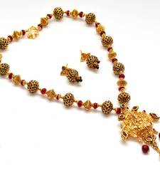 Buy Anvi's lakshmi pendent with heavy gundla mala studded with rubies and emeralds Necklace online
