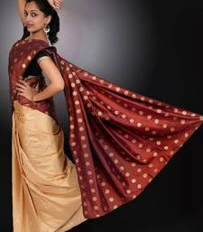 Buy Brown & Gold  silk-saree online