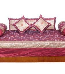 Buy Designer 8 Piece Golden Maroon Silk Dewan Set bed-sheet online