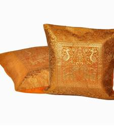 Buy Golden Yellow Jacquard Silk Cushion Cover Pair pillow-cover online