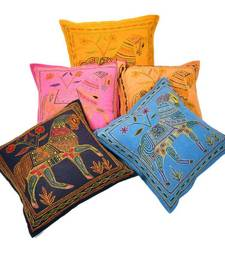 Buy Fine Embroidery Cotton Cushion Cover 5 Pc. Set bed-sheet online