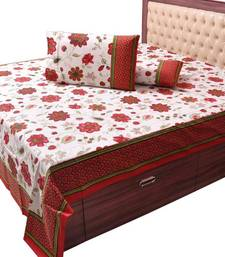 Buy Pure Cotton Floral Print Double Bed Sheet Set bed-sheet online