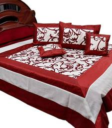 Buy Floral Design Silk Double Bedcover Cushion Set bed-sheet online