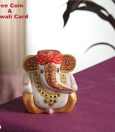 Buy Diwali gifts silver coin with Gold work Ganesh with turban diwali-silver-gift online