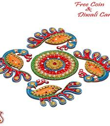 Buy Peacock design wood and clay table accent - Diwali decoration diwali-decoration online