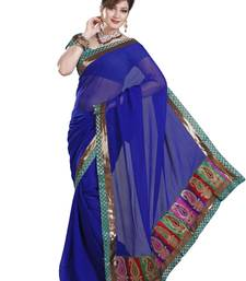 Buy ROYAL BLUE FAUX CHIFFON PARTY WERE SAREE WITH BLOUSE chiffon-saree online