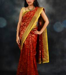 Buy Maroon Banaras Silk Saree silk-saree online