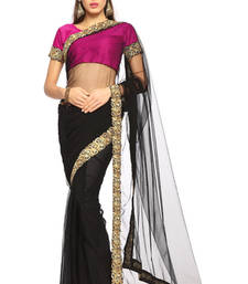 Buy Black / Magenta Embroidered Net Saree With Blouse (1475) net-saree online