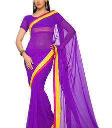 Buy Purple Embroidered Faux georgette Saree With Blouse (1545) georgette-saree online