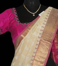 Buy White with pink Silk Cotton Saree with blouse traditional-saree online