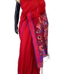 Buy Red tussar fabric weaved saree in red & purple border-SR5442 tussar-silk-saree online