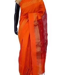 Buy Orange tussar fabric saree in red weaved pallu & red plain blouse-SR5451 tussar-silk-saree online