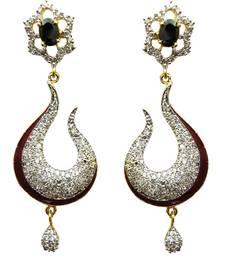 Buy Vatika black and maroon american diamond earring danglers-drop online