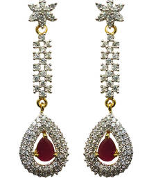 Buy Vatika beautiful pink american diamond earring danglers-drop online