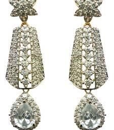 Buy Vatika white stone drop american diamond earring danglers-drop online