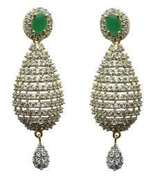 Buy Vatika green stone american diamond earring danglers-drop online
