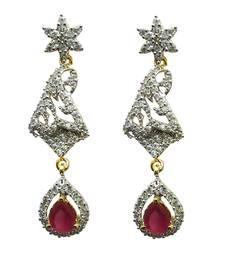 Buy Vatika pink stone drop american diamond earring danglers-drop online