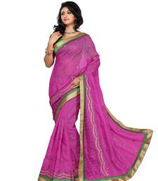 Buy Style Pink royal brasso and plain net saree. brasso-saree online