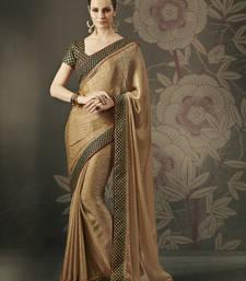 Buy Stunning Chocolate Jacquard Designer Saree party-wear-saree online