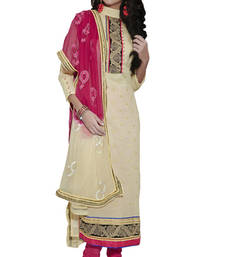 Buy Beige Embroidered Cotton Unstiched dress-material online