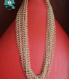 White pearls multistrand long necklace shop online