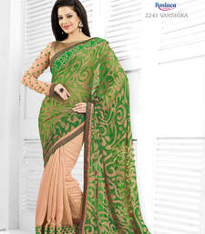 Buy Astounding Green Georgette Jacquard Saree heavy-work-saree online