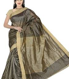 Buy KHICHA PATTI SAREE - BLACK cotton-saree online