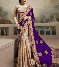 Buy Purple embroidered georgette saree with blouse half-saree online