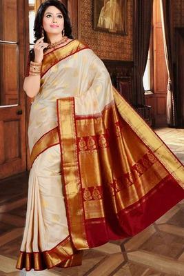 Buy Cream Pure Silk Zari Weaved Saree In Maroon Amp Gold