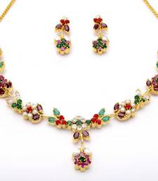 Buy LILY NECKLACE SET WITH EARRINGS (NAVRATNA) - necklace-set online