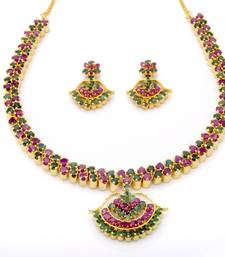 Buy BELL NECKLACE SET WITH EARRINGS (RUBY EMRALD) - necklace-set online