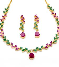 Buy FLOWER LEAF NECKLACE SET WITH EARRINGS (RUBY EMRALD) - necklace-set online