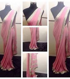 Buy Pink crepe saree crepe-saree online