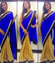 Buy Gold satin goergette Saree satin-saree online