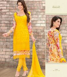 Buy Lovely Yellow Karachi Dressmaterial with Digital Print dress-material online