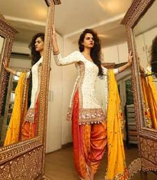 Buy White embroidered cotton salwar with dupatta patiala-salwar online