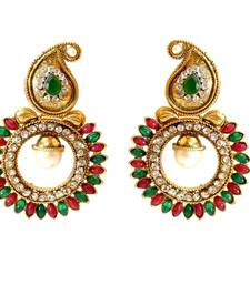 Buy Green Red Paisely Round Stone Earring danglers-drop online