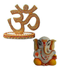Buy Combo of Lord Ganpati Statue and Crafted Om Show Piece sculpture online