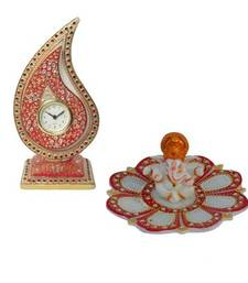 Buy Combo of Trophy Clock and Lord Ganesha sculpture online