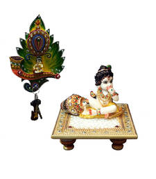 Buy Combo of Laddu Gopal chowki and Laddu Gopal Key Holder sculpture online