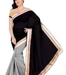 Buy Black & White Viscose Pallu Lovely Embroidered Sarees With Unstitched Blouse viscose-saree online
