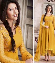 Buy Yellow embroidered georgette salwar with dupatta semi-stitched-salwar-suit online