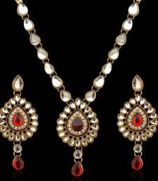 Ethnic Indian Jewelry Maroon White Kundan Like Work Necklace Set b160m shop online