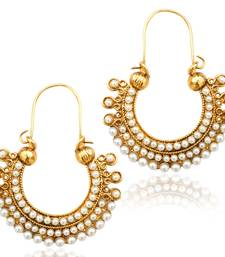 Pearl golden finish ethnic bali hoop Indian vintage ethnic jewelry earring dds PSEAZ001WH mz1 shop online