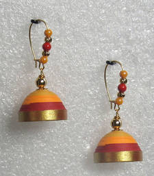Orange with red hanging quilled jhumkas shop online