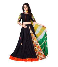 Buy Black embroidered cotton semi stitched