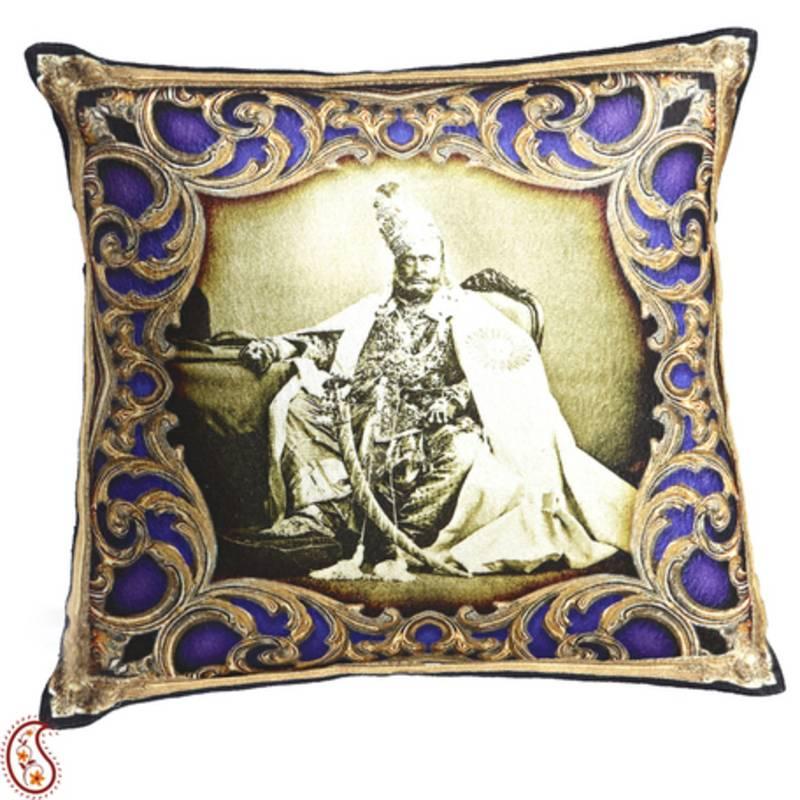 Buy Royals Of Rajastani Digital Print Poly Velvet Cushion